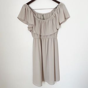 Mona B off the shoulder gray fit & flare dress